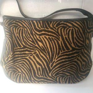 TALBOTS  Leather Trim Animal zebra bag purse